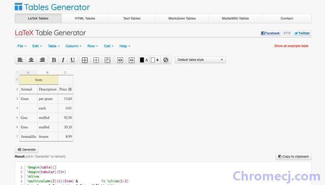 Tables Generator 线上制作产生表格 HTML、LaTeX、Markdown 源码