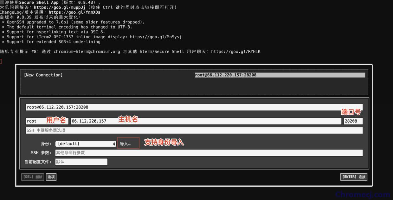 Secure Shell App插件登录界面