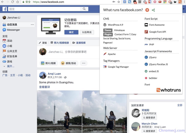 Whatruns插件应用实例-facebook