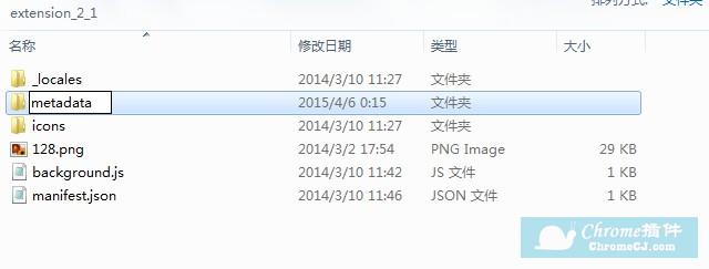 把Chrome插件文件夹中的_metadata文件夹的名字改成metadata
