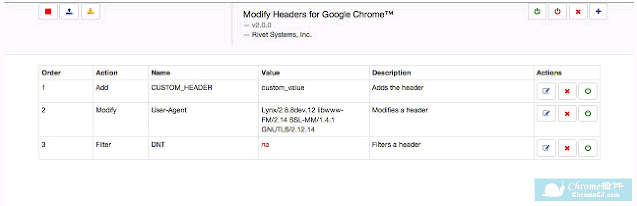 Modify Headers for Google Chrome™使用方法
